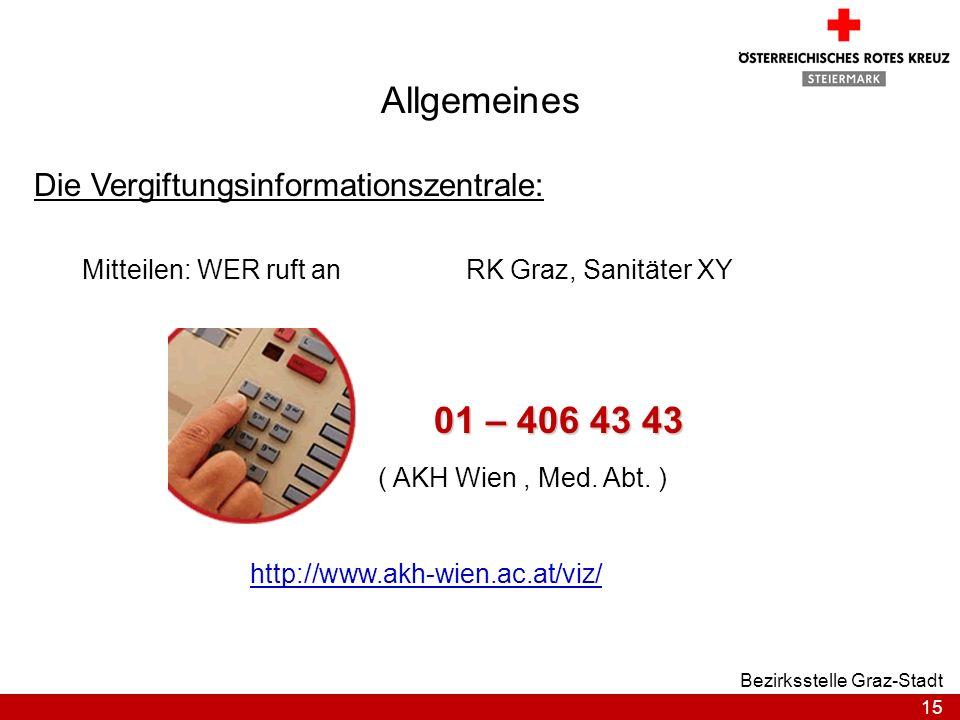 Allgemeines 01 – 406 43 43 Die Vergiftungsinformationszentrale:
