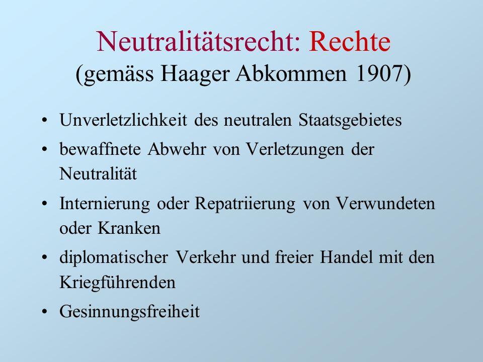 Neutralitätsrecht: Rechte (gemäss Haager Abkommen 1907)