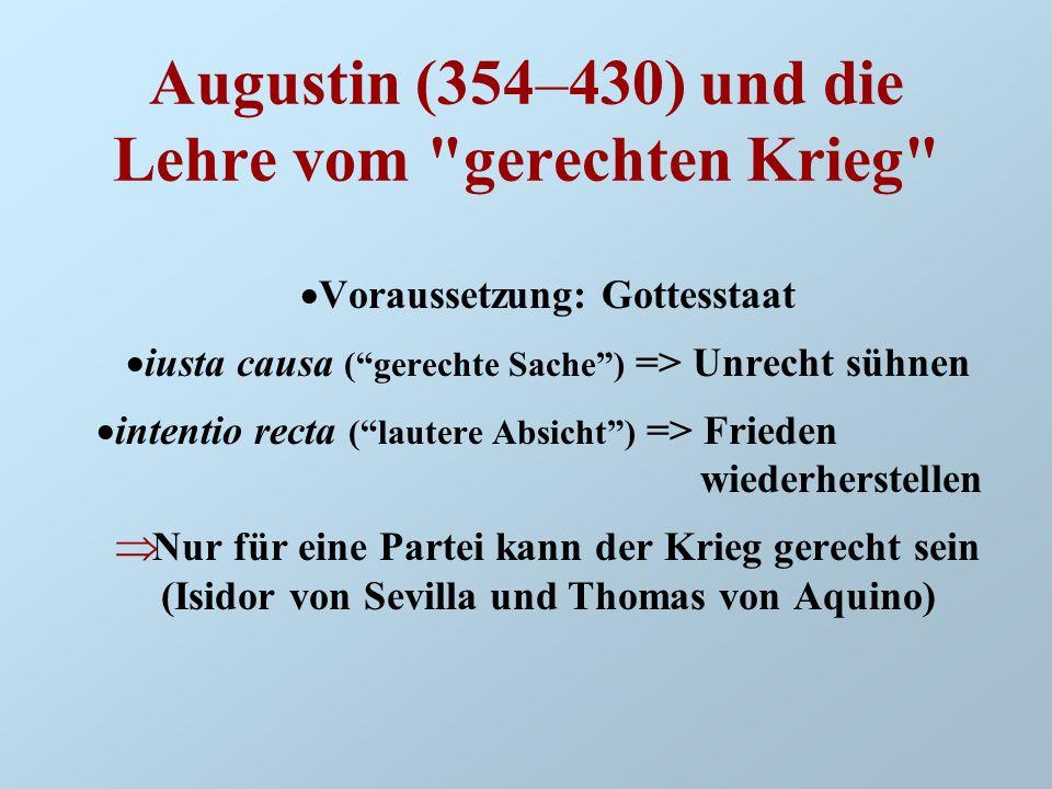 Augustin (354–430) und die Lehre vom gerechten Krieg