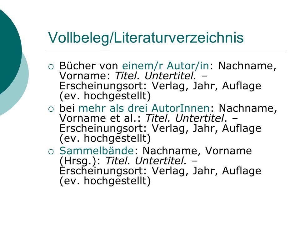 Vollbeleg/Literaturverzeichnis