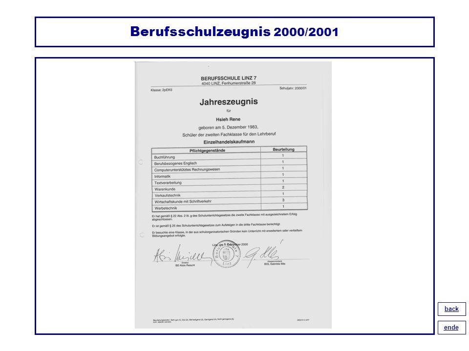 Berufsschulzeugnis 2000/2001 back ende