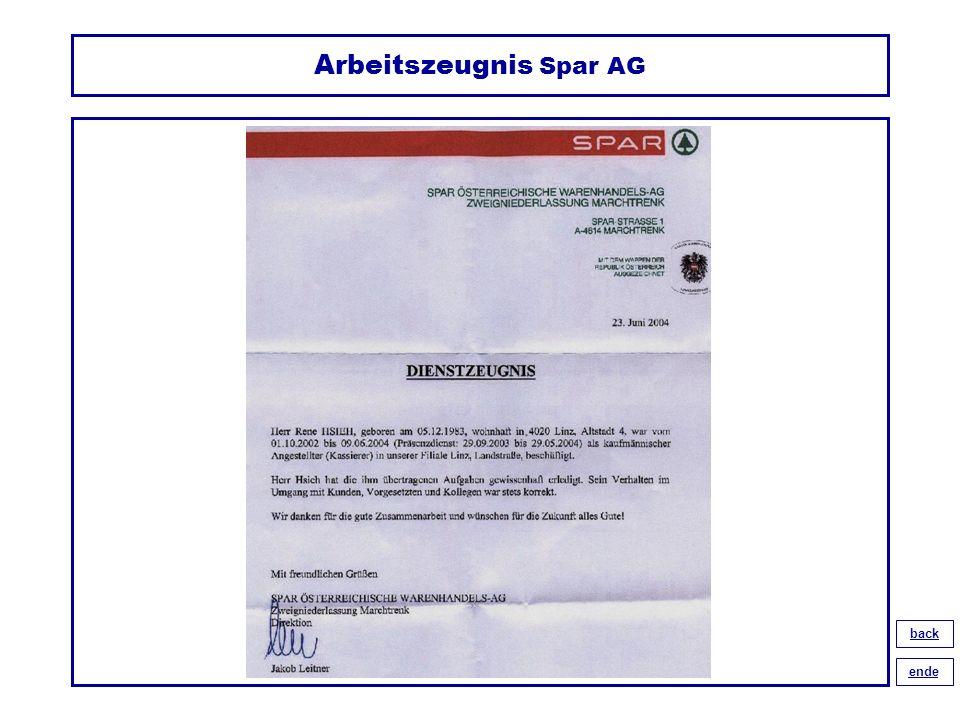 Arbeitszeugnis Spar AG