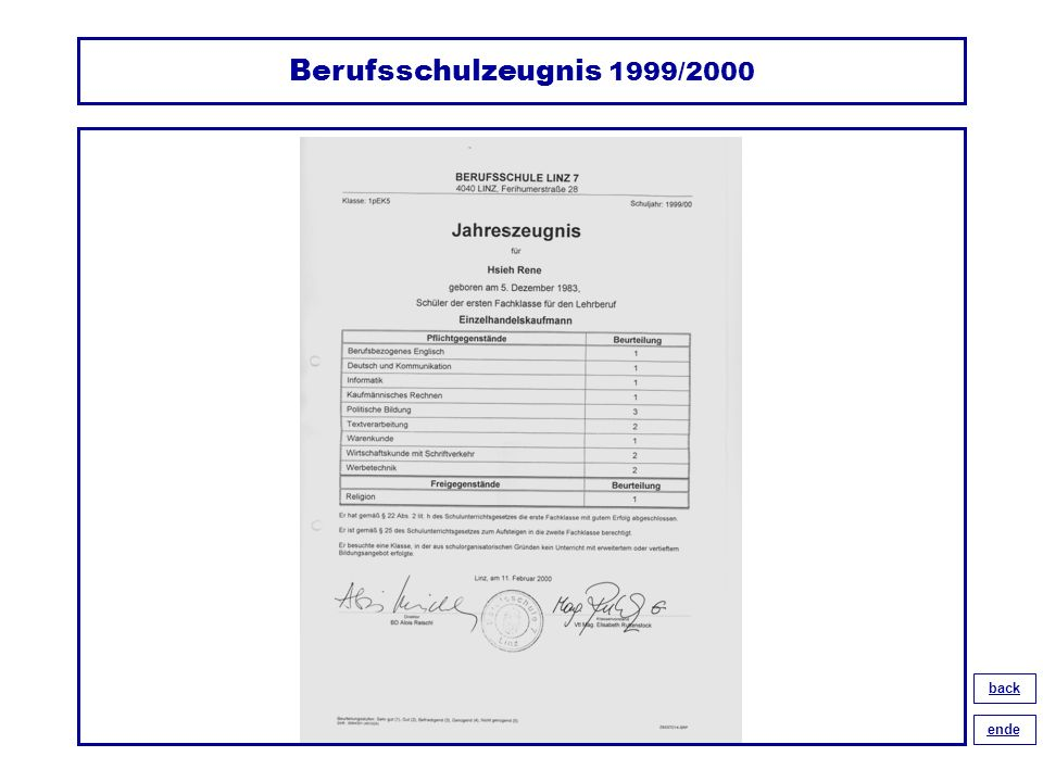 Berufsschulzeugnis 1999/2000 back ende