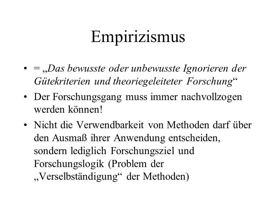 """Empirizismus = """"Das bewusste oder unbewusste Ignorieren der Gütekriterien und theoriegeleiteter Forschung"""