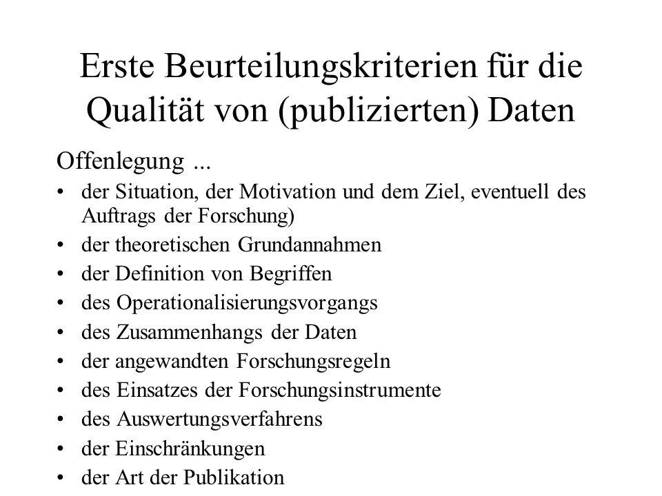 Erste Beurteilungskriterien für die Qualität von (publizierten) Daten