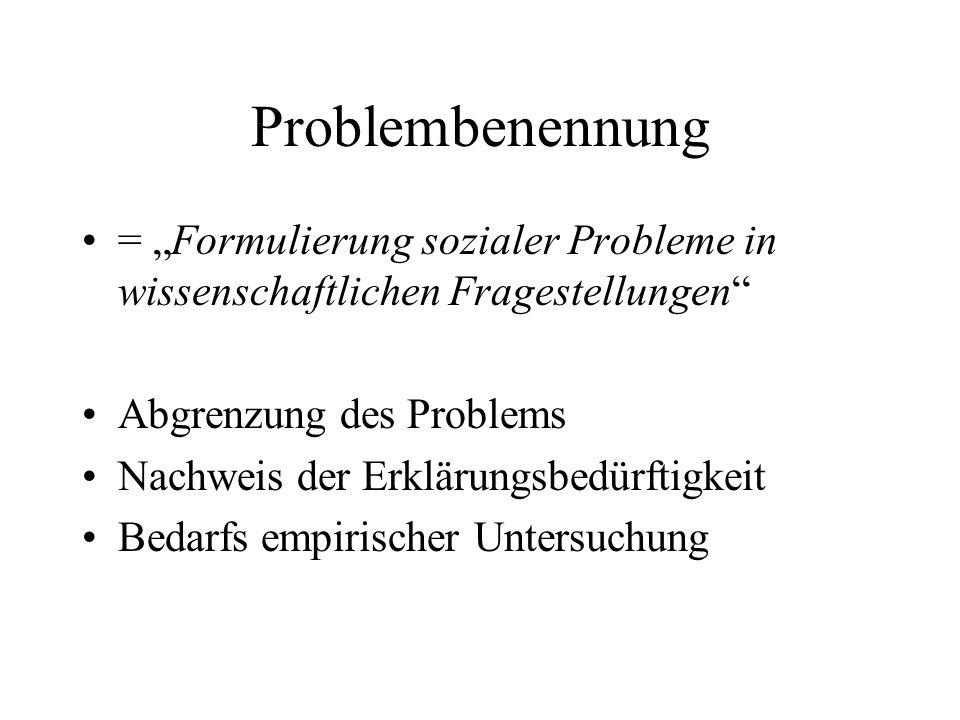 """Problembenennung = """"Formulierung sozialer Probleme in wissenschaftlichen Fragestellungen Abgrenzung des Problems."""