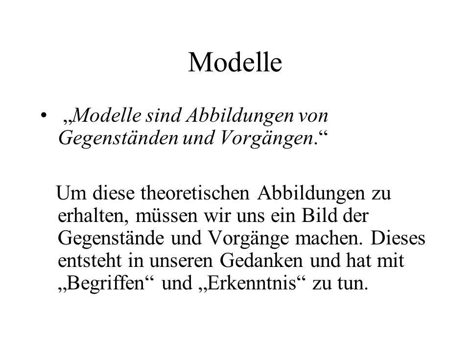 """Modelle """"Modelle sind Abbildungen von Gegenständen und Vorgängen."""