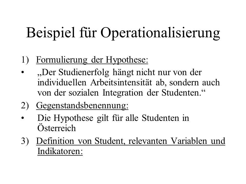 Beispiel für Operationalisierung
