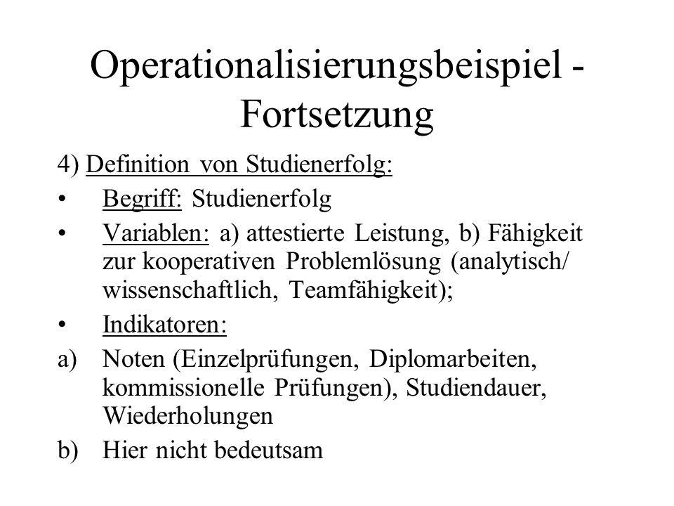 Operationalisierungsbeispiel - Fortsetzung