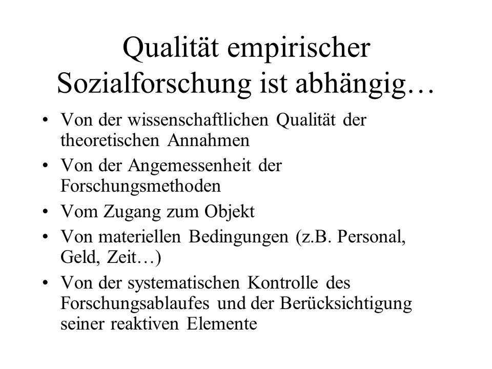 Qualität empirischer Sozialforschung ist abhängig…
