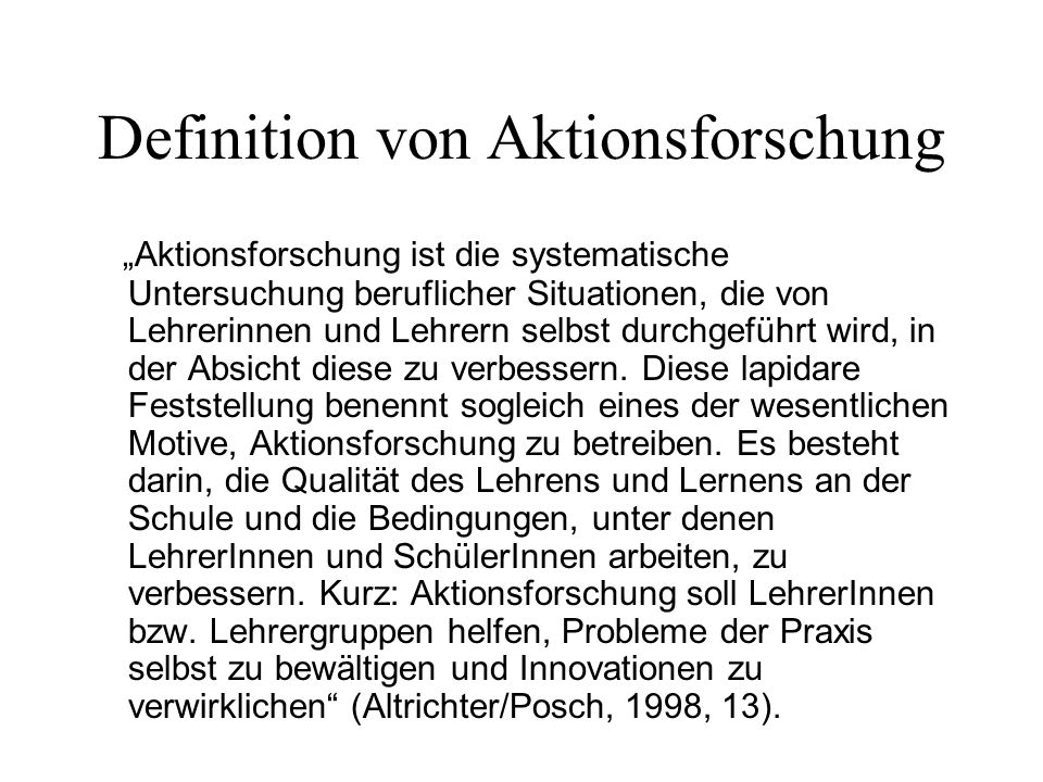 Definition von Aktionsforschung