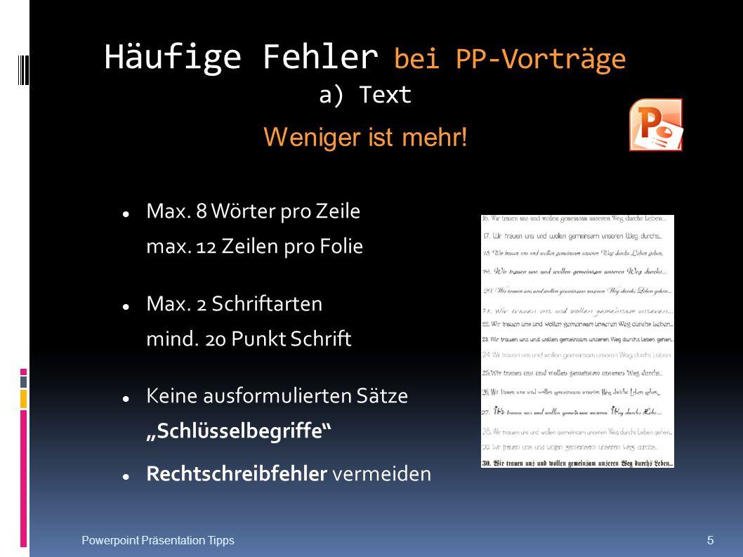 Häufige Fehler bei PP-Vorträge a) Text