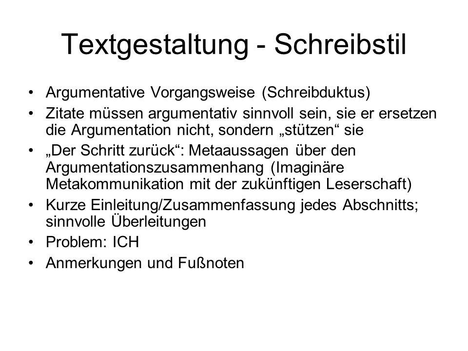 Textgestaltung - Schreibstil