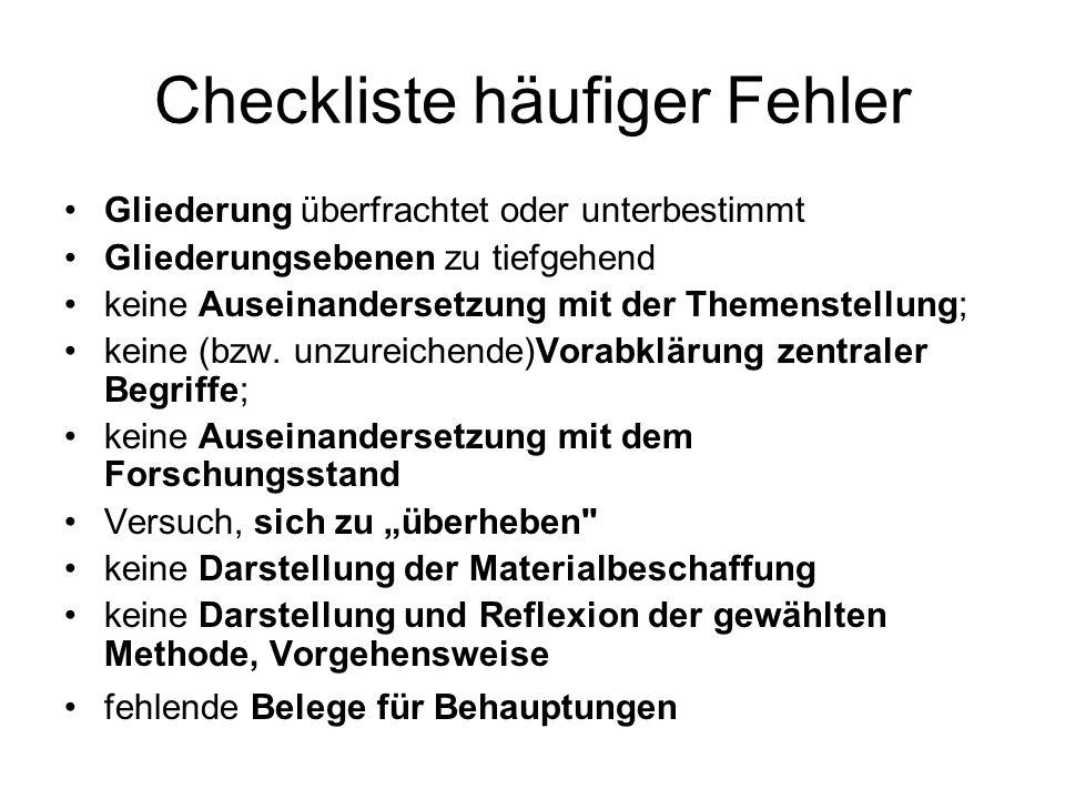 Checkliste häufiger Fehler