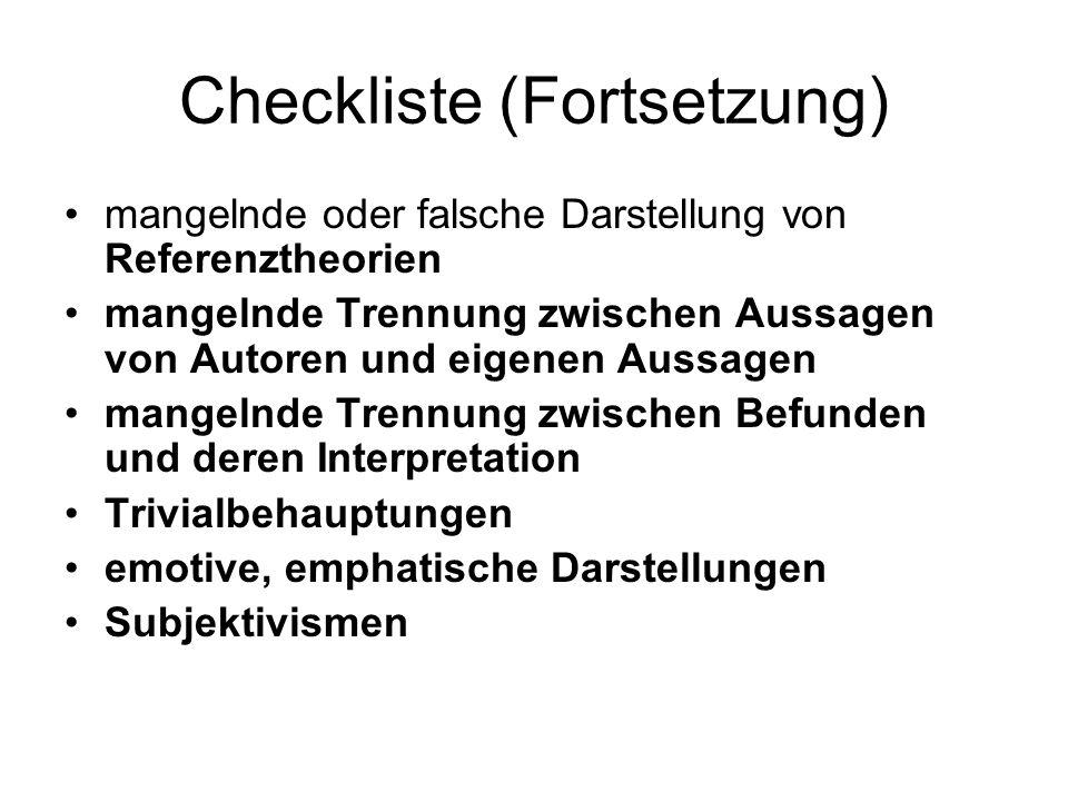 Checkliste (Fortsetzung)