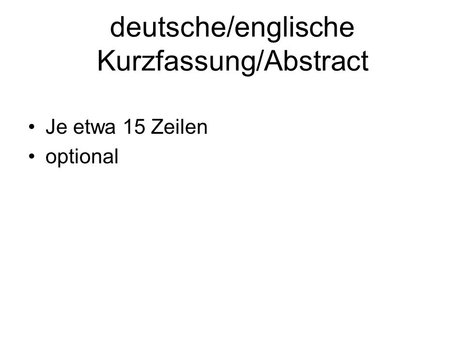 deutsche/englische Kurzfassung/Abstract