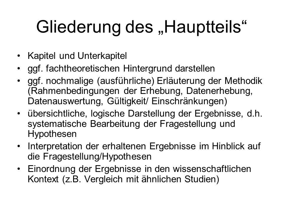 """Gliederung des """"Hauptteils"""