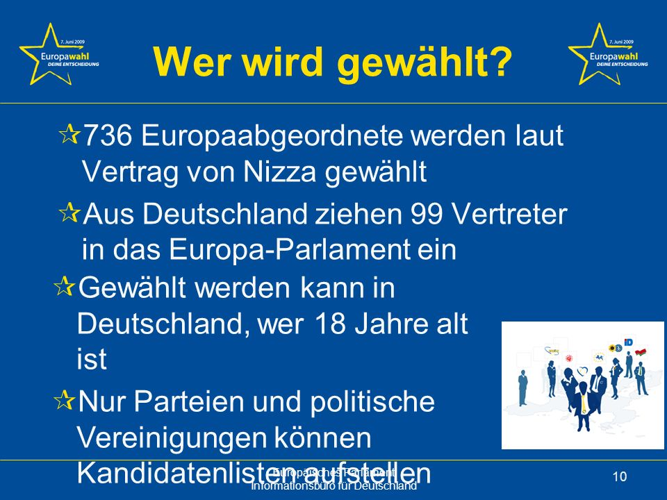 Wer wird gewählt 736 Europaabgeordnete werden laut Vertrag von Nizza gewählt. Aus Deutschland ziehen 99 Vertreter in das Europa-Parlament ein.