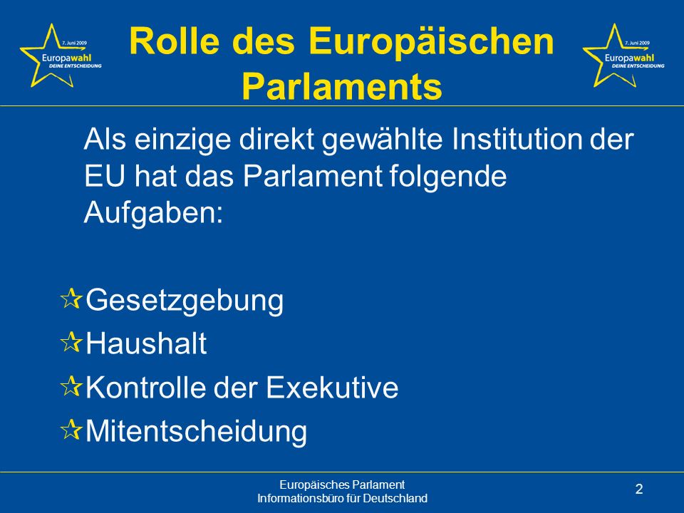 Rolle des Europäischen Parlaments