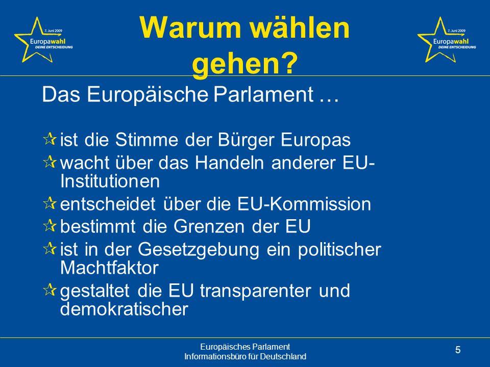 Warum wählen gehen Das Europäische Parlament …
