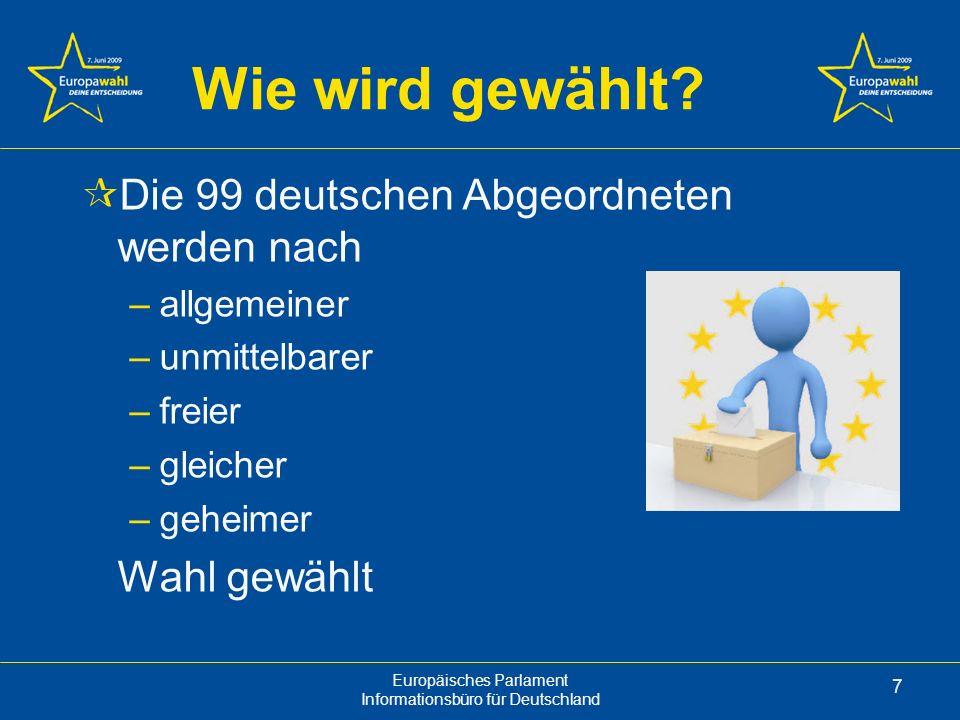 Wie wird gewählt Die 99 deutschen Abgeordneten werden nach