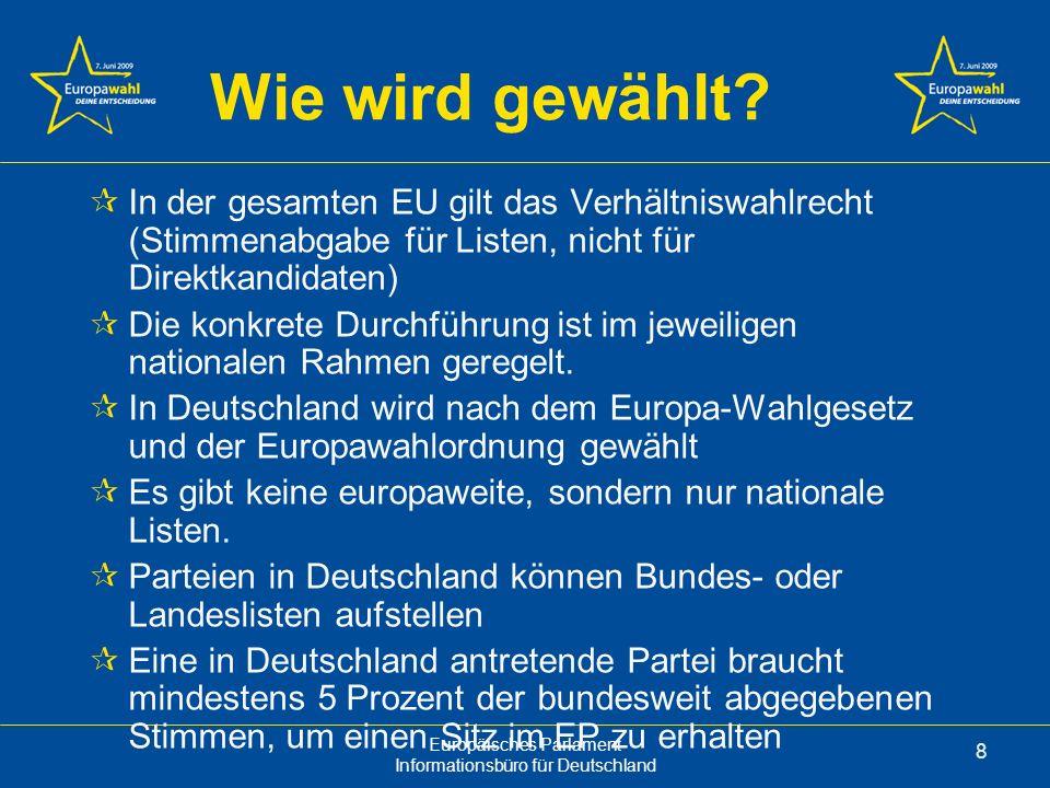 Wie wird gewählt In der gesamten EU gilt das Verhältniswahlrecht (Stimmenabgabe für Listen, nicht für Direktkandidaten)