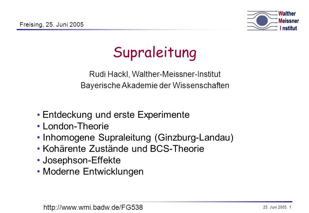 Supraleitung Entdeckung und erste Experimente London-Theorie