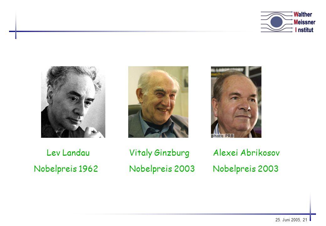Lev Landau Vitaly Ginzburg Alexei Abrikosov Nobelpreis 1962 Nobelpreis 2003 Nobelpreis 2003
