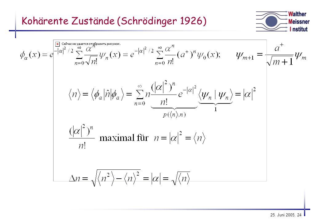 Kohärente Zustände (Schrödinger 1926)