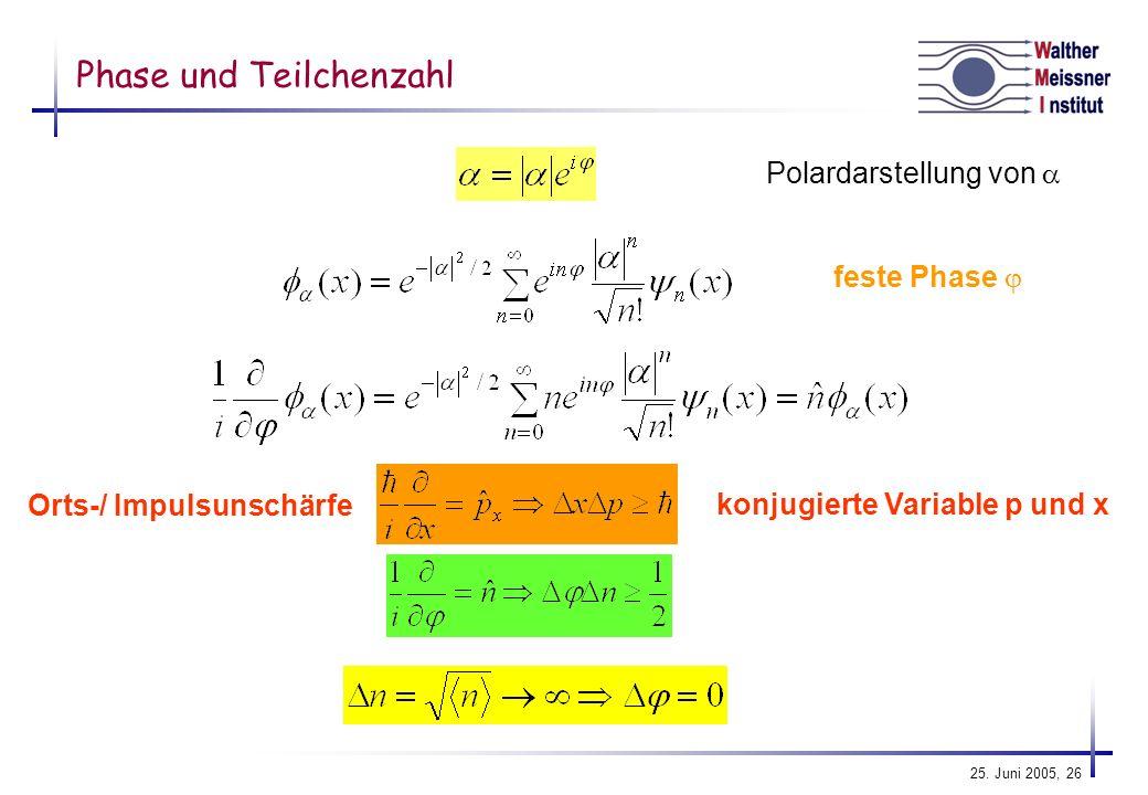 Phase und Teilchenzahl