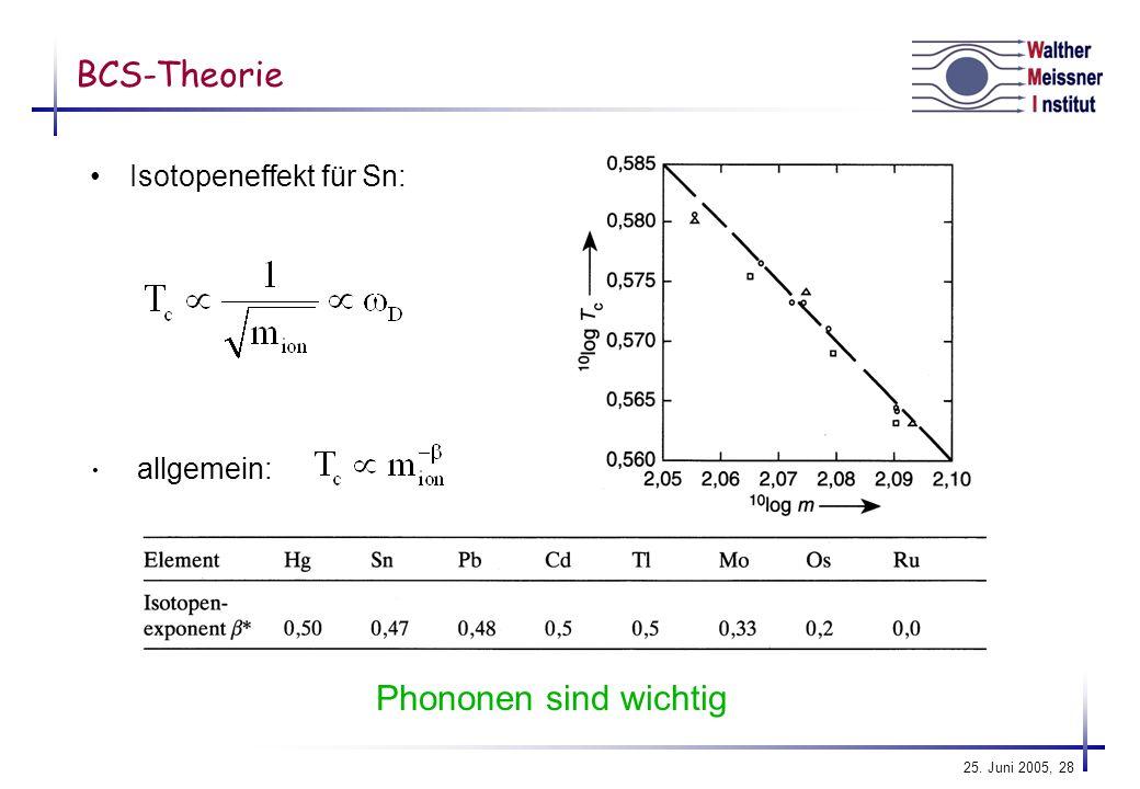 BCS-Theorie Isotopeneffekt für Sn: allgemein: Phononen sind wichtig