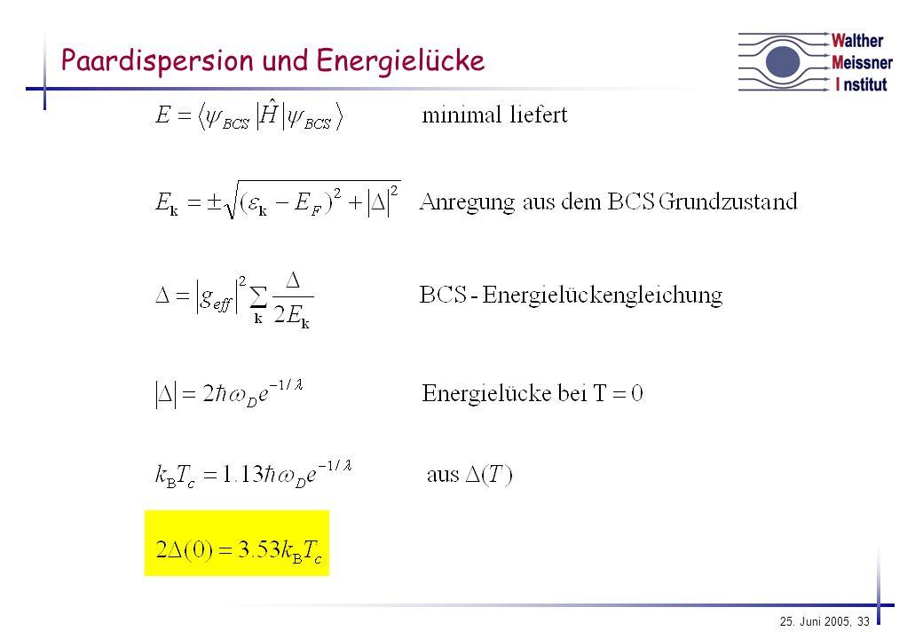Paardispersion und Energielücke