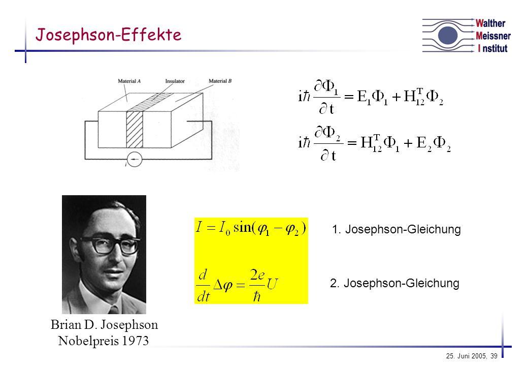 Josephson-Effekte Brian D. Josephson Nobelpreis 1973