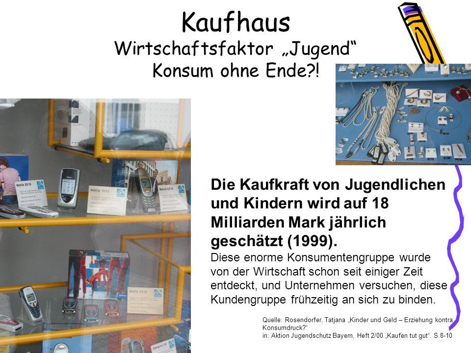 """Kaufhaus Wirtschaftsfaktor """"Jugend Konsum ohne Ende !"""