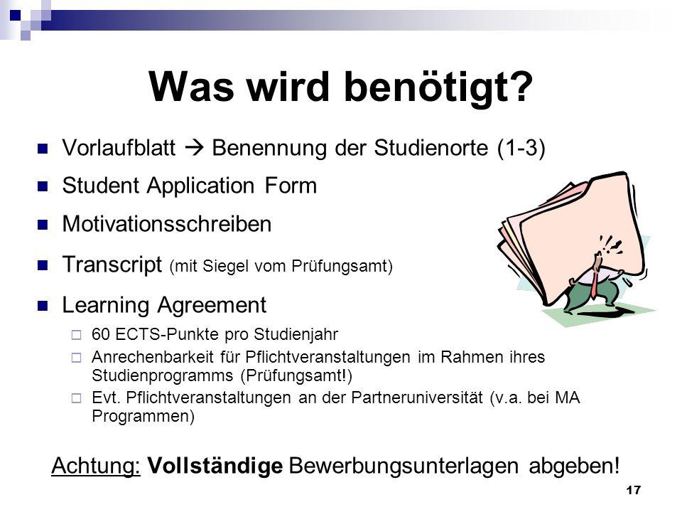 Achtung: Vollständige Bewerbungsunterlagen abgeben!