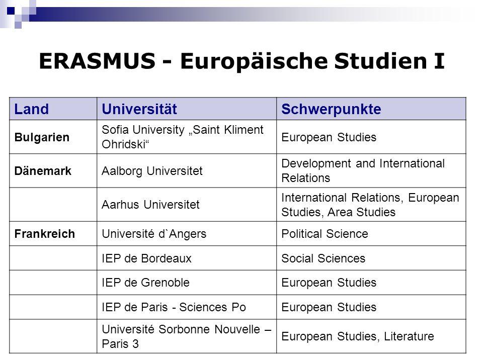 ERASMUS - Europäische Studien I