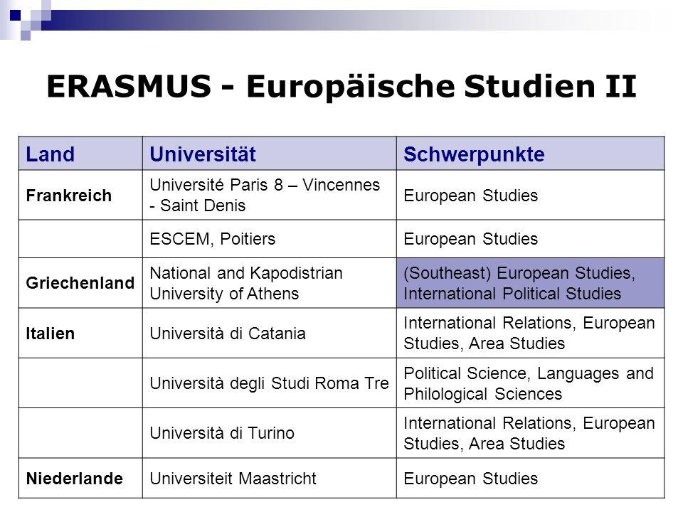 ERASMUS - Europäische Studien II