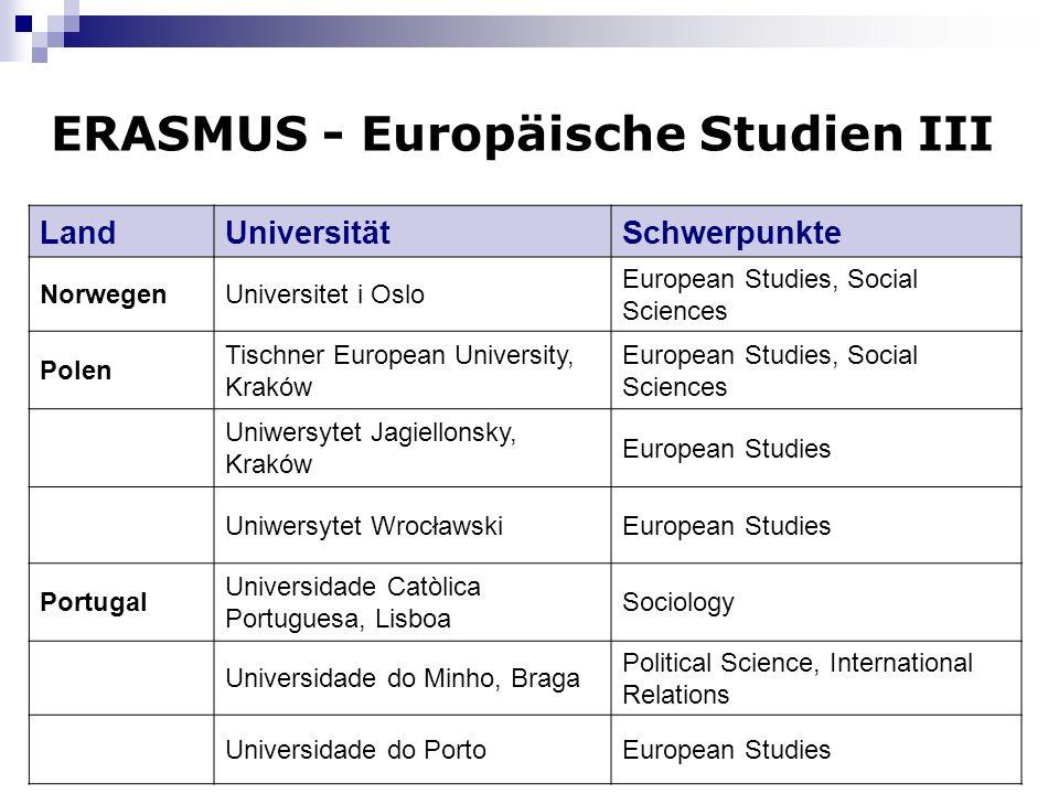 ERASMUS - Europäische Studien III