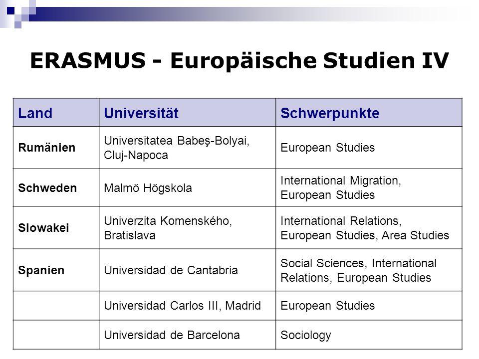ERASMUS - Europäische Studien IV