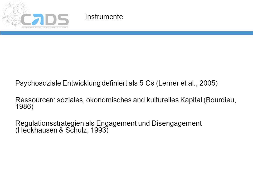 Instrumente Psychosoziale Entwicklung definiert als 5 Cs (Lerner et al., 2005)