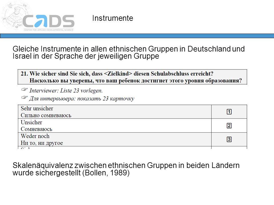 Instrumente Gleiche Instrumente in allen ethnischen Gruppen in Deutschland und Israel in der Sprache der jeweiligen Gruppe.