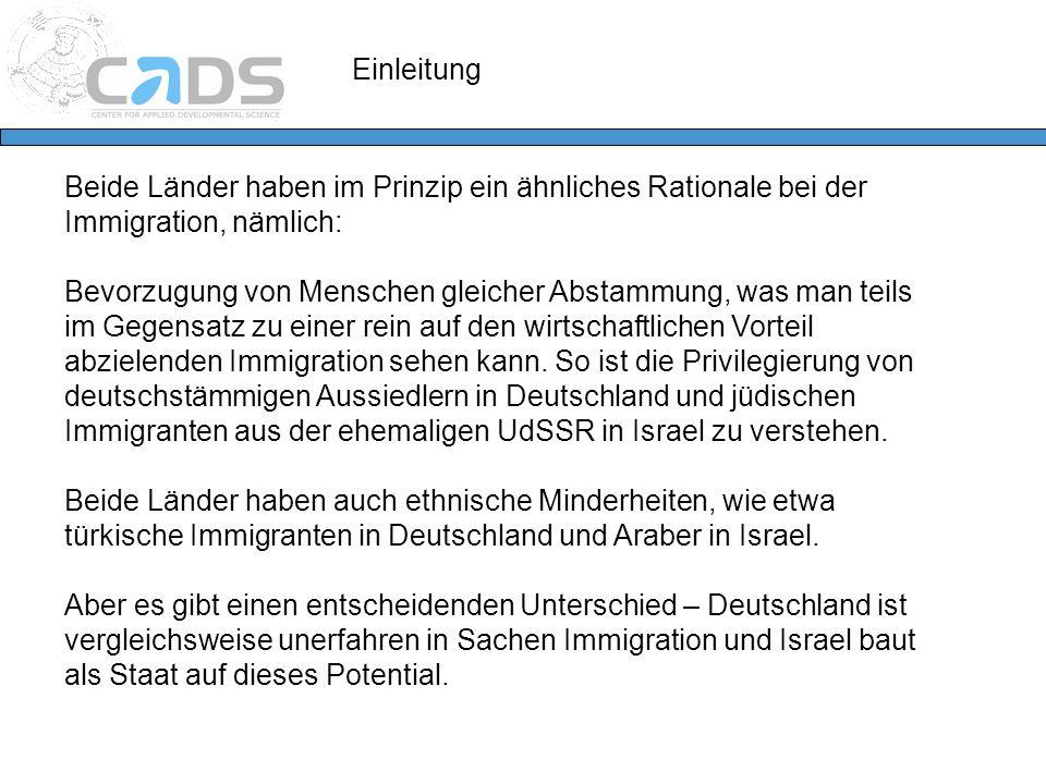 Einleitung Beide Länder haben im Prinzip ein ähnliches Rationale bei der Immigration, nämlich: