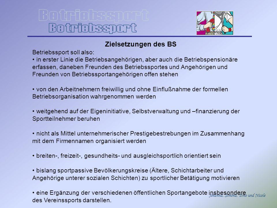 Betriebssport Zielsetzungen des BS Betriebssport soll also: