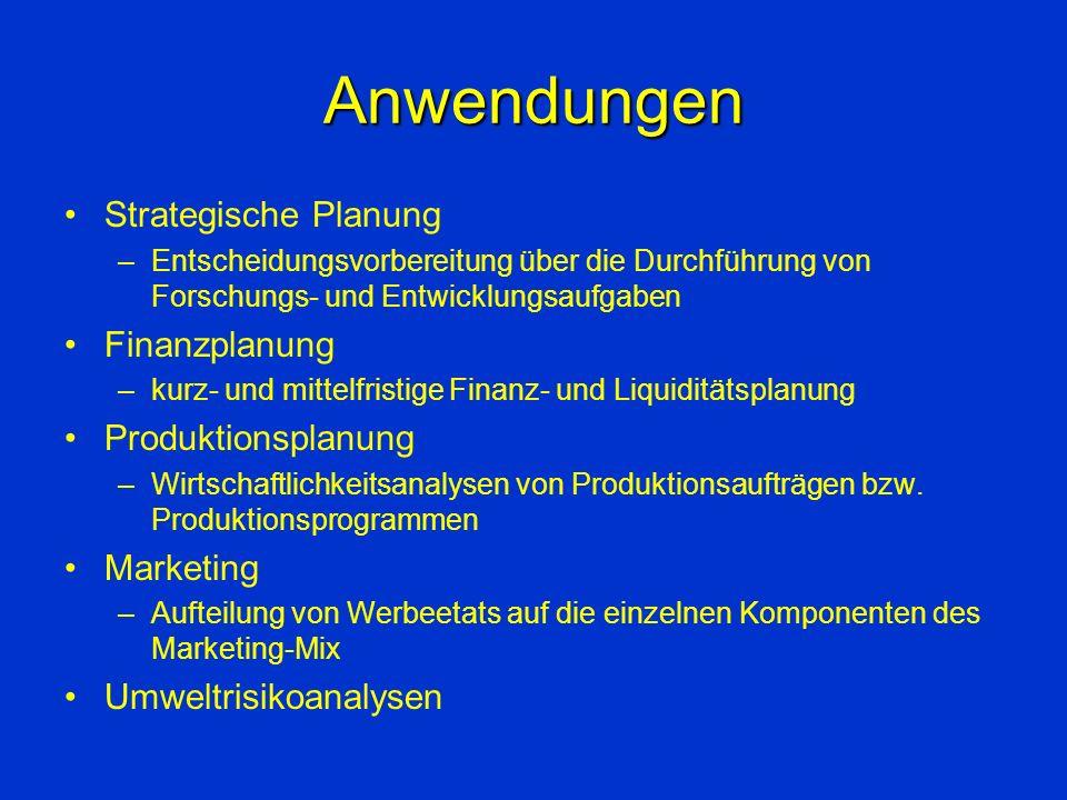 Anwendungen Strategische Planung Finanzplanung Produktionsplanung