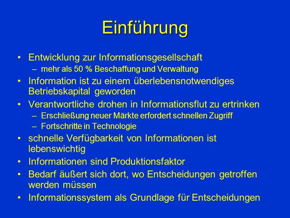 Einführung Entwicklung zur Informationsgesellschaft