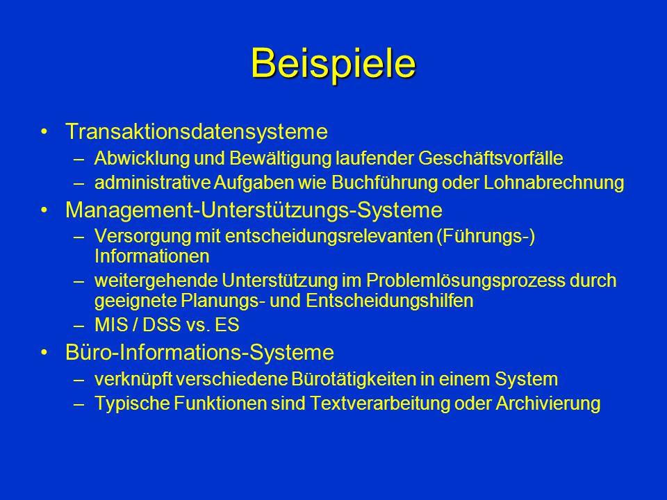 Beispiele Transaktionsdatensysteme Management-Unterstützungs-Systeme