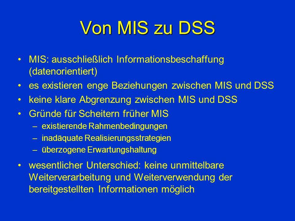 Von MIS zu DSS MIS: ausschließlich Informationsbeschaffung (datenorientiert) es existieren enge Beziehungen zwischen MIS und DSS.