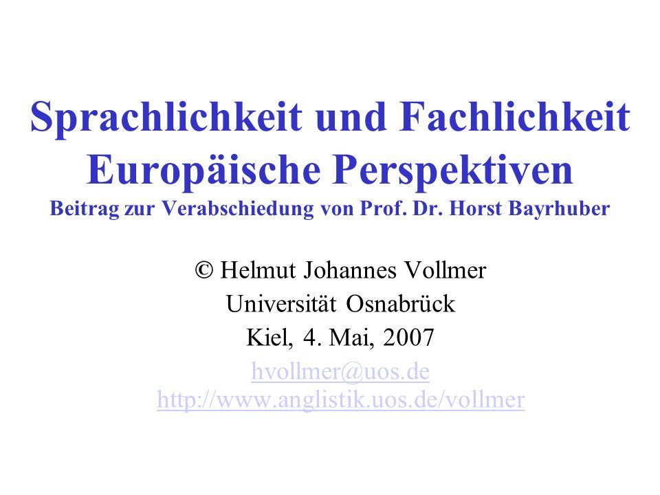 Sprachlichkeit und Fachlichkeit Europäische Perspektiven Beitrag zur Verabschiedung von Prof. Dr. Horst Bayrhuber