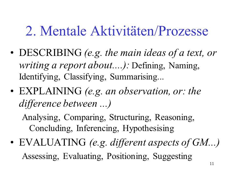 2. Mentale Aktivitäten/Prozesse