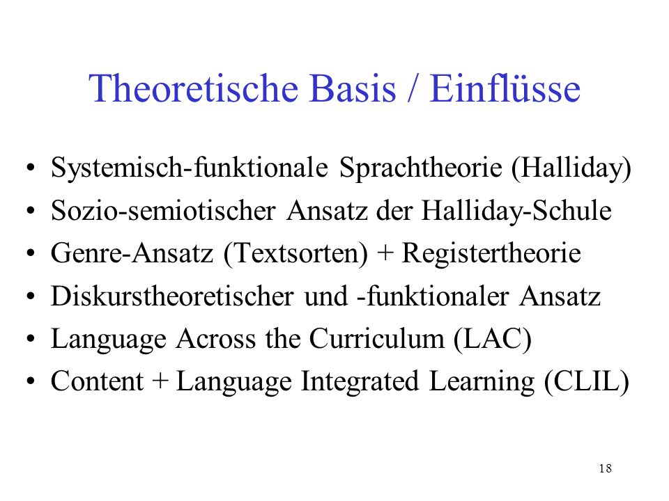 Theoretische Basis / Einflüsse